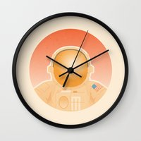 spaceman Wall Clocks featuring Spaceman by M. Gulin