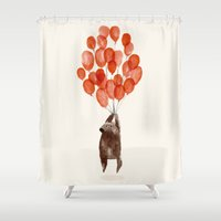 balloon Shower Curtains featuring Almost take off by Picomodi