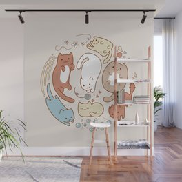 Seven cute cats. Wall Mural