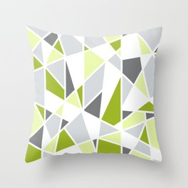 Geometric Pattern in Lime, Yellow, Gray Throw Pillow