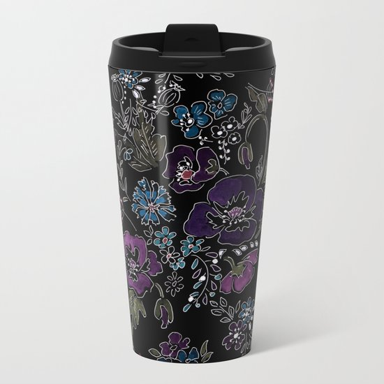 Floral pattern on a black background . Blue and purple flowers . Metal Travel Mug