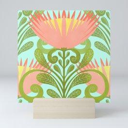 King Protea Flower Pattern - Turquoise Mini Art Print