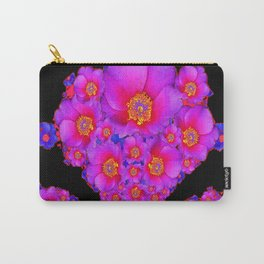 Colorful Purple-Red Fuchsia Flowers Black Modern Art Design Abstract Carry-All Pouch