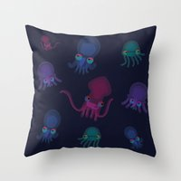 squid Throw Pillows featuring Squid by Steph Chen
