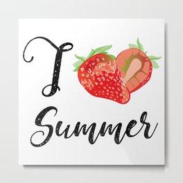 I love Summer Strawberry Metal Print