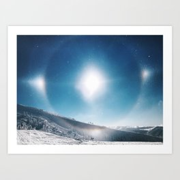 Ice Crystals Reflecting a Sundog Art Print