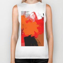 Abstract painting Hot orange F05 Biker Tank