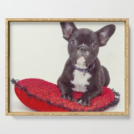Bulldog On a Red Pillow Serving Tray