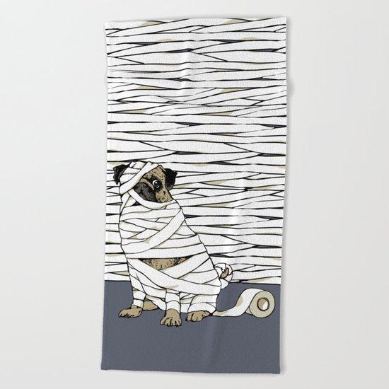 The Mummy Pug Return Beach Towel