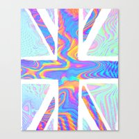 holographic Canvas Prints featuring Holographic Union Jack  by Berberism Lifestyle