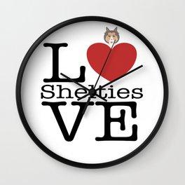 Love Cute Shelties Wall Clock