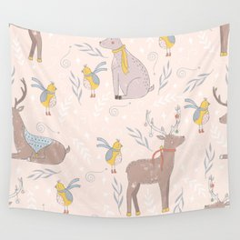 Christmas Deer and Bird Wall Tapestry