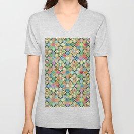 Gilded Moroccan Mosaic Tiles Unisex V-Neck