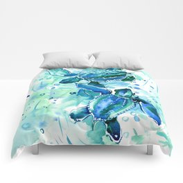 Turquoise Blue Sea Turtles in Ocean Comforters