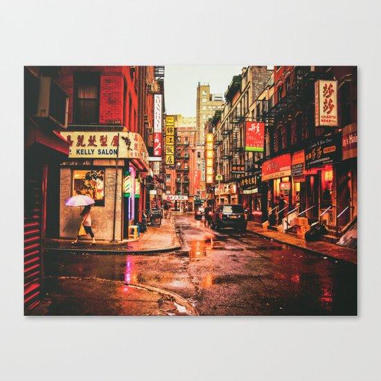 New York City Rain in Chinatown Canvas Print