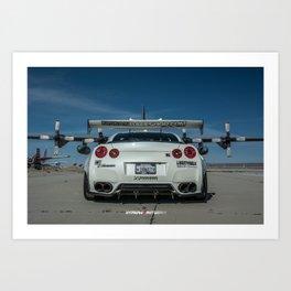 Nissan GT-R R35 LibertyWalk Widebody with Plane Art Print