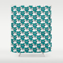 Panda family on meadow Shower Curtain