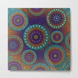 Dot Art Circles Teals and Purples #1 Metal Print