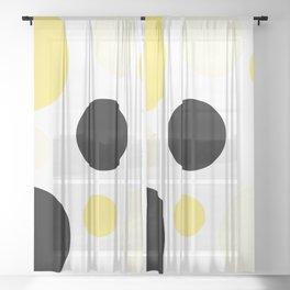 Atomic Era Circles With Dots Yellow Sheer Curtain
