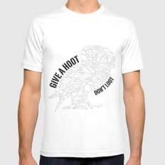 GIVE A HOOT, DON'T LOOT! White MEDIUM Mens Fitted Tee