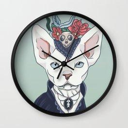 Victorian vampire cat Wall Clock