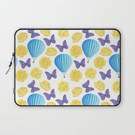 Modern yellow blue violet watercolor floral butterfly pattern Laptop Sleeve