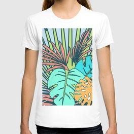 Tropical leaves blue T-shirt