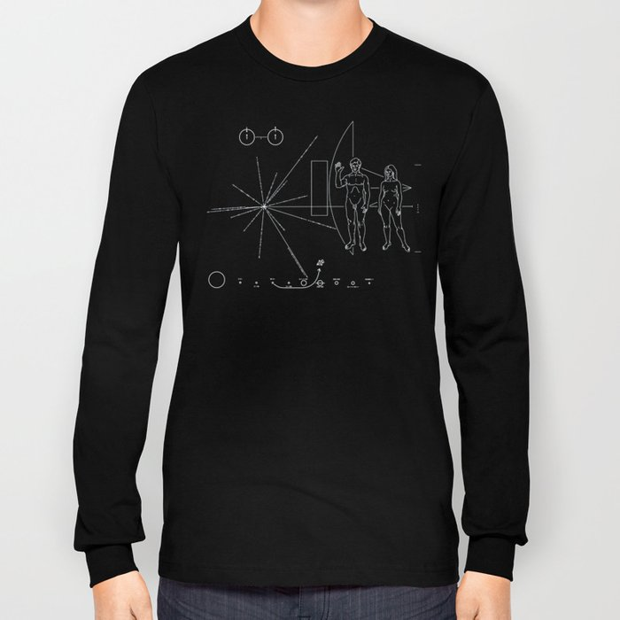 Nasa Pioneer Space Craft Plaque White Text on Black Alien Message Long Sleeve T-shirt