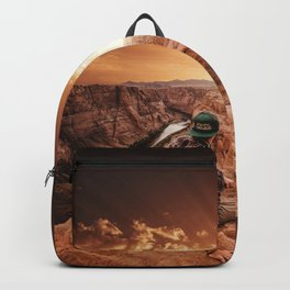 man on top of horse shoe bend Backpack