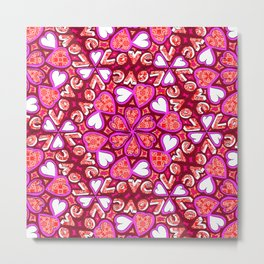 Love Hearts Doodle - Pink and Red Metal Print