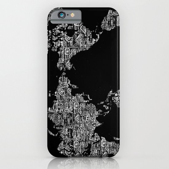 Passport Stamp Map Special Edition, Black and White iPhone & iPod Case