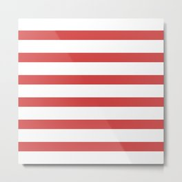Red Stripes on White Background Metal Print