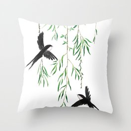 green willow leaf and swallow watercolor Throw Pillow