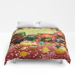 Woodland Friends at Teatime in Forest Comforters