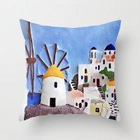 greek Throw Pillows featuring Greek island by Brian Raggatt