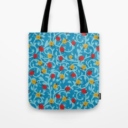 Small Ladybirds - Cerulean Blue Ornamental Foliage Tote Bag