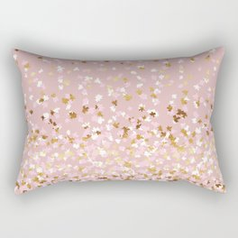 Floating Confetti - Pink Blush and Gold Rectangular Pillow