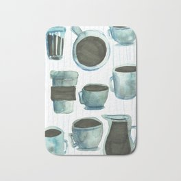 coffees watercolor Bath Mat