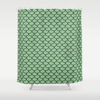 scales Shower Curtains featuring Scales by victoria negrin
