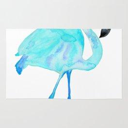 Aqua Watercolor Flamingo Rug