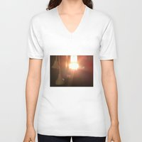 bathroom V-neck T-shirts featuring Bathroom Lights by Efua Boakye
