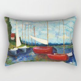 """Artistic Impression of Claude Monet's """"Red Boats at Argenteuil"""" Rectangular Pillow"""