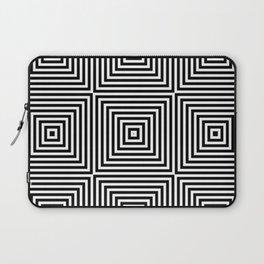 Square Optical Illusion Black And White Laptop Sleeve