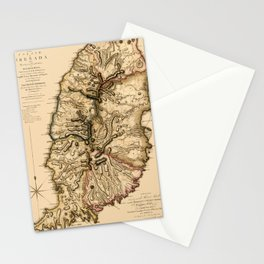 Map Of Grenada 1780 Stationery Cards