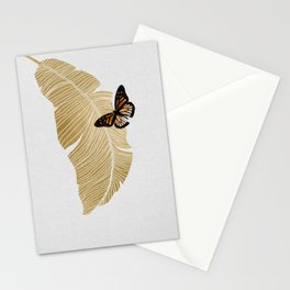 Butterfly & Palm Leaf, Gold Wall Art Stationery Cards