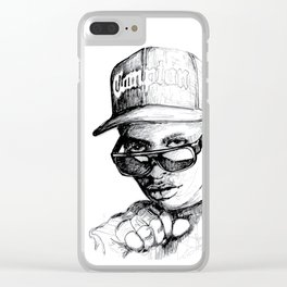 Digital Drawing #34 - Easy E in Black & White Clear iPhone Case