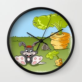 Rabbit and carrot Wall Clock