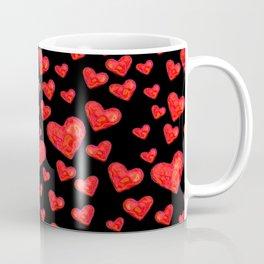 Hearts Motif Black Coffee Mug