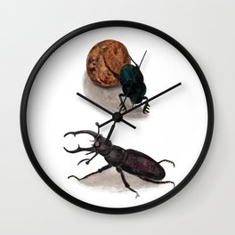 Stag beetle and Sacred Scarab Illustration Wall Clock