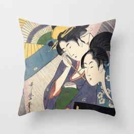 """Utamaro, """" Woman with Geisha and Shamisen Box in Night Rain """" Throw Pillow"""